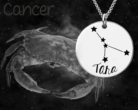 Cancer Zodiac Constellation Personalized Necklace