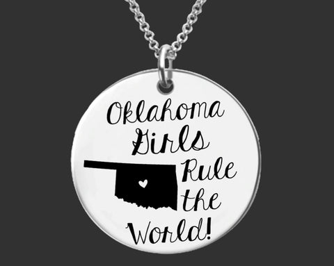 Oklahoma Girls Necklace | Oklahoma State Customized Necklace