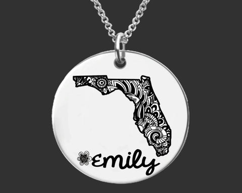 Florida Jewelry | Florida State Personalized Necklace