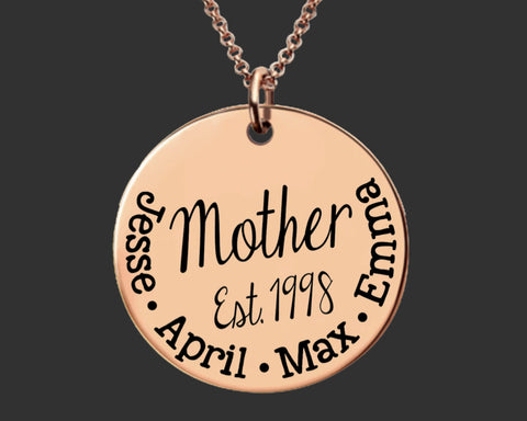 Rose Gold Personalized Mothers Necklace