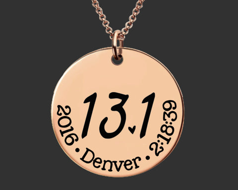 13.1 Necklace Rose Gold | Half Marathon Necklace