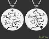 Blonde Brunette Best Friend Necklace