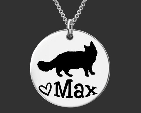 Maine Coon Cat Personalized Necklace