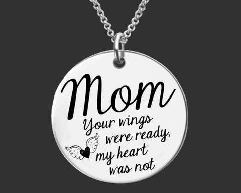 Your Wings Were Ready Personalized Memorial Necklace