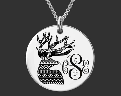 Deer Stag Monogram Necklace