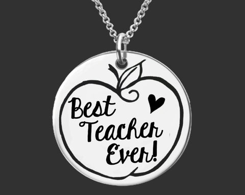 Best Teacher Ever Necklace | Gift for Teacher