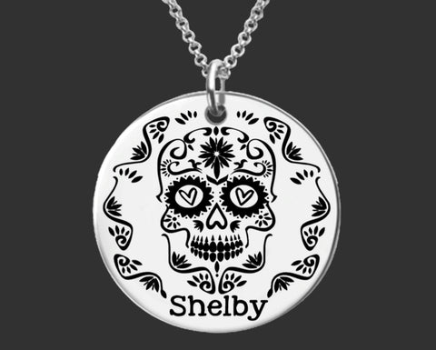 Sugar Skull Personalized Necklace | Daughter Gift