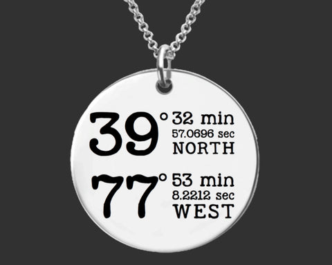 GPS Coordinates Location Keychain | GPS Jewelry