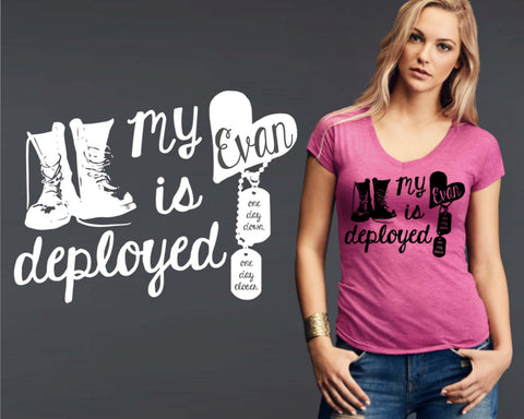 My Heart is Deployed Personalized T-shirt