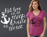 His Love Is As Deep & Wide As The Sea T-shirt | Christian T shirt