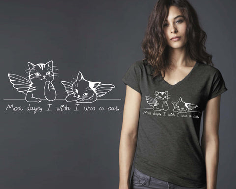 Wish I Was A Cat T-shirt | Funny T shirt