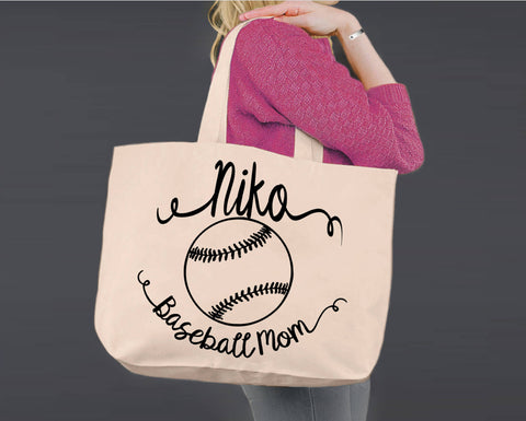 Baseball Mom | Personalized Canvas Tote Bag
