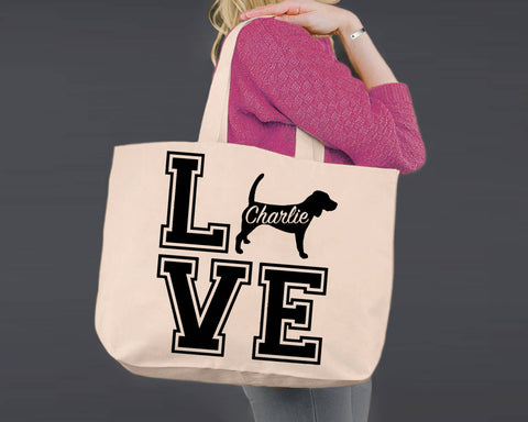 Beagle Dog Love | Personalized Canvas Tote Bag