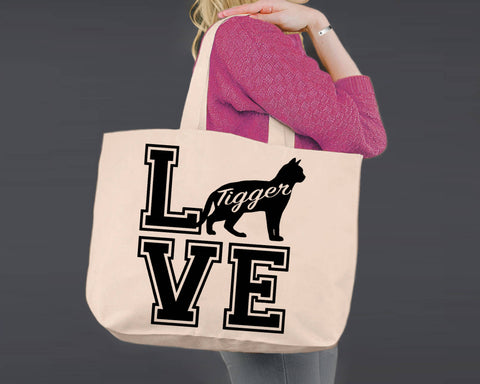 Bengal Cat Love | Personalized Canvas Tote Bag