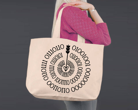 Binary Code | I Love You More | Personalized Canvas Tote Bag