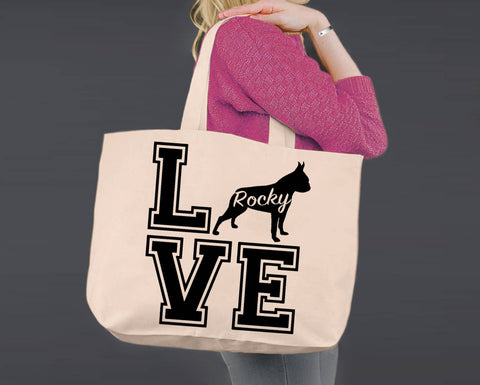 Boston Terrier Dog Love | Personalized Canvas Tote Bag