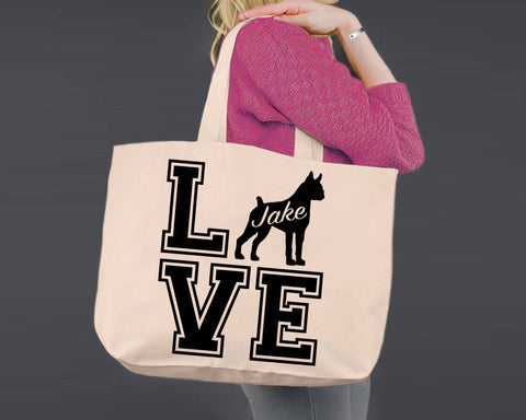 Boxer Dog Love | Personalized Canvas Tote Bag