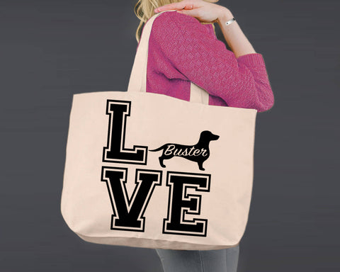 Dachshund Dog Love | Personalized Canvas Tote Bag