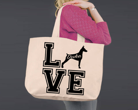 Doberman Pinscher Dog Love | Personalized Canvas Tote Bag
