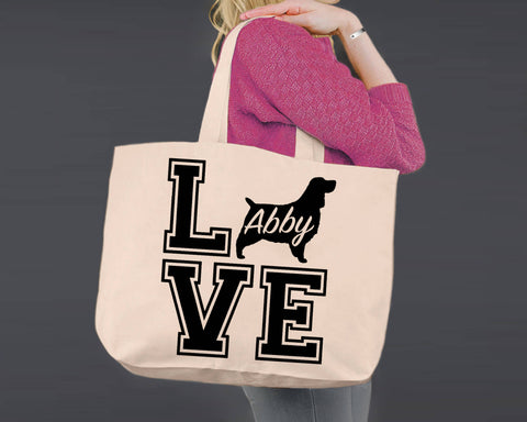 English Springer Spaniel Dog Love | Personalized Canvas Tote Bag