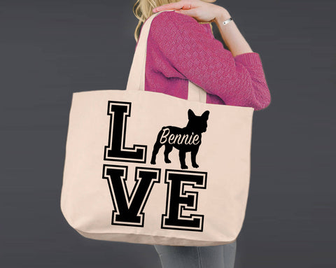 French Bulldog Love | Personalized Canvas Tote Bag