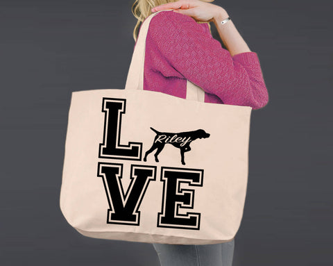 German Shorthaired Pointer Dog Love | Personalized Canvas Tote Bag