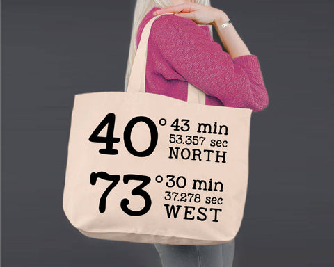 GPS Coordinates | Personalized Canvas Tote Bag