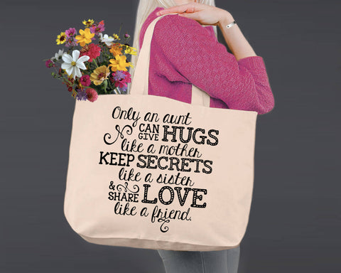 Auntie Like a Mom | Personalized Canvas Tote Bag