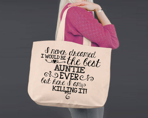 Best Aunt Ever | Personalized Canvas Tote Bag