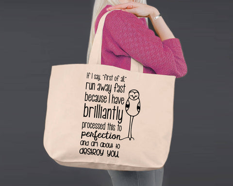 Run Away Fast | Personalized Canvas Tote Bag