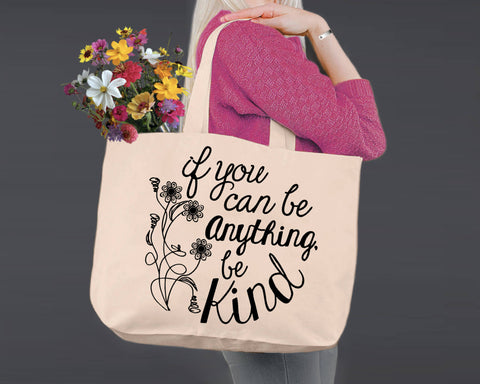 Be Kind | Personalized Canvas Tote Bag