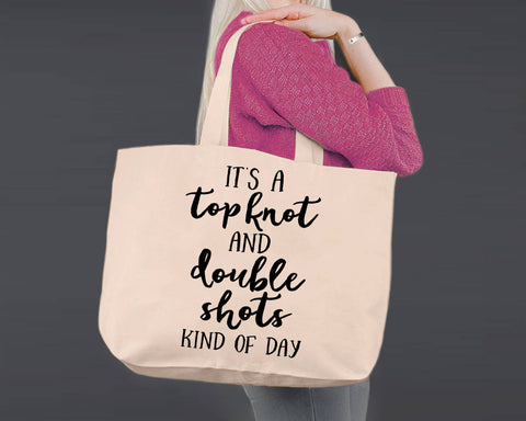Topknot and Double Shots | Canvas Tote Bag