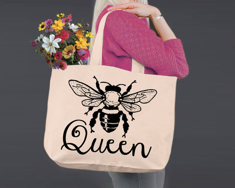 Queen Bee  | Personalized Canvas Tote Bag