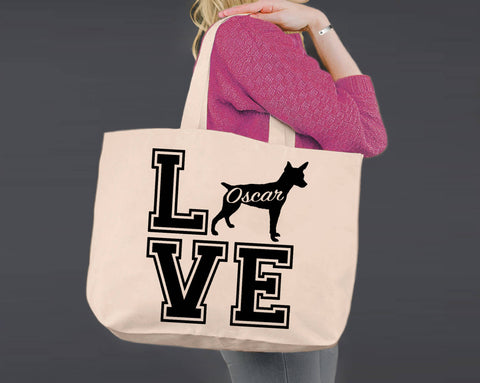 Rat Terrier Dog Love | Personalized Canvas Tote Bag