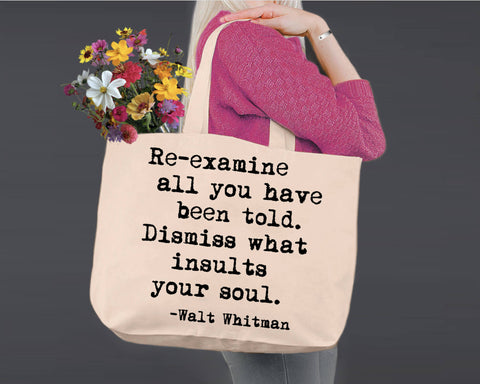 Re-examine All | Walt Whitman | Canvas Tote Bag