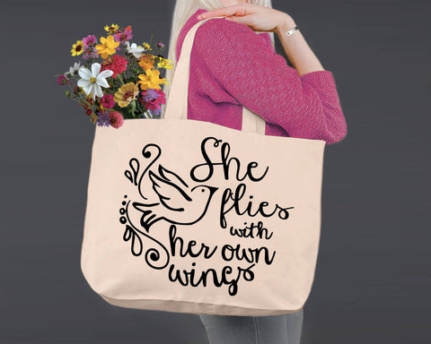 She Flies With Her Own Wings | Personalized Canvas Tote Bag