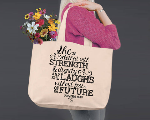 Proverbs 31:25 | Canvas Tote Bag