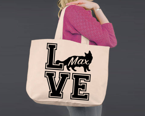Maine Coon Cat Love | Personalized Canvas Tote Bag