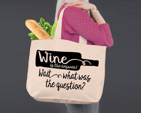 Wine Is the Answer | Personalized Canvas Tote Bag