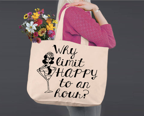 Why Limit Happy Hour | Personalized Canvas Tote Bag