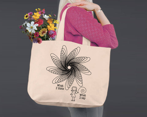 What I Think | Personalized Canvas Tote Bag