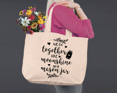 We Go Together | Personalized Canvas Tote Bag