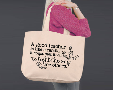 A Teacher Takes a Hand | Personalized Canvas Tote Bag