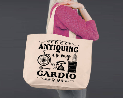 Antiquing is My Cardio | Personalized Canvas Tote Bag