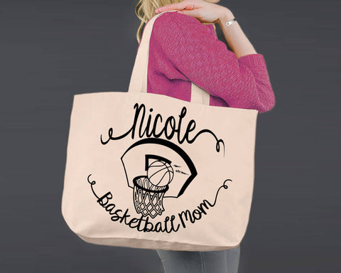 Basketball Mom | Personalized Canvas Tote Bag