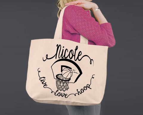 Basketball | Personalized Canvas Tote Bag
