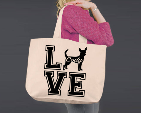 Chihuahua Dog Love | Personalized Canvas Tote Bag