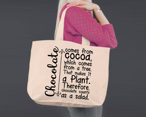 Chocolate | Personalized Canvas Tote Bag