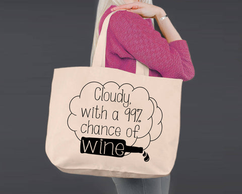 Wine | Chance of Wine | Personalized Canvas Tote Bag