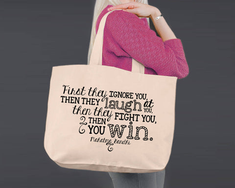 Then You Win | Gandhi | Canvas Tote Bag